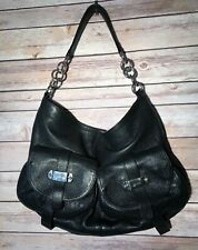 Furla Black Pebbled Leather Zip Top Hobo Handbag Shoulder Bag Italy