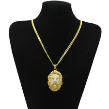 Elvis Presley 3D Lion Head Face Iced Out TCB Gold Plated Pendant Chain Necklace