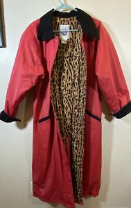 Women's ATLANTIC BEACH RAINCOAT Red Jacket Black Accent LEOPARD Lining S Small