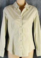 Chico's 0 Olive Stripe Cotton Stretch Button Down Shirt Long Sleeve