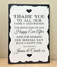 Wedding Thank You Sign Personalised Shabby Rustic Vintage Style