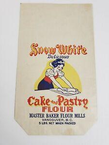 Vintage 1940's Snow White Delicious Cake & Pastry 5LBS. Flour Bag, Vancouver BC