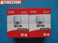 2 DANFOSS RA/V 2960 élément de Captage 013G2960 34mm tête Soupape thermostatique