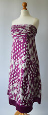 Ladies Ted Baker Deep Pink / Purple & Cream Silk Dress Size Uk 10