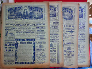 4X VINTAGE 1912 FISHING GAZETTE NEWSPAPERS LOTS OF EARLY FISHING ADVERTS