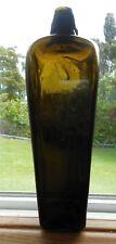 """Victorian  Antique Dark olive green blown glass case Gin bottle 1880's  9"""""""