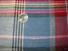 """2 yds 52"""" Blue and Red woven Plaid COTTON apparel home decor----*"""