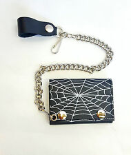 Mens Biker Leather Spider Web Chain Wallet Tri-Fold -Motorcycle American Made