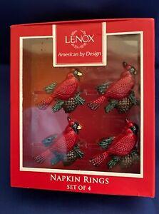 LENOX ENAMEL CARDINAL BIRD NAPKIN RINGS SET OF 4 WINTER GREETINGS