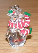 """Clear Glass Resin Snowman with Scarf Christmas Ornament Personalized """"Grandpa"""""""