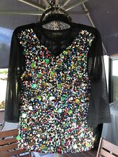 STUNNING MULTI-COLOURED BEADS/BUTTONS & SEQUINS BLACK SHEER TOP-Size 10