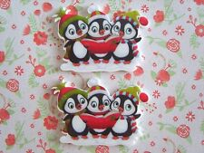 2 x Large Cute Christmas Penguin Planar Resin Bow Crafts Embellishments