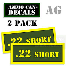 22 SHORT Ammo Can Box Decal Sticker bullet ARMY Gun safety Hunting 2 pack AG