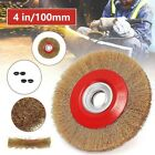100mm Brush Wheel Wire 4inch 4pcs Adaptor Rings For Bench Grinder Gold+ Red New