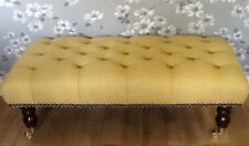 A Quality Long Deep Button Footstool In Laura Ashley Dalton camomile Fabric
