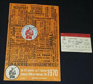 1970 QUEBEC INTERNATIONAL PEEWEE HOCKEY TOURNAMENT - PROGRAM + 2 TICKET + BUTTON