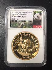 NGC PF70 60gram 2017 Silver Panda China Foreign Frienship ambassador Gilt 66pc