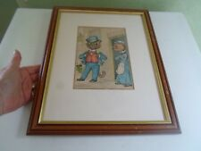 Louis Wain Cat Print - COMICAL TOM CAT SMOKING PIPE Humour Framed+Glazed §LW10