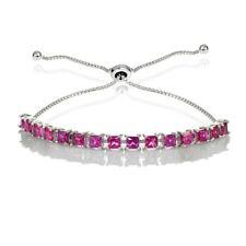 Sterling Silver 3mm Created Ruby Princess-cut Adjustable Bolo Tennis Bracelet