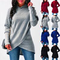 Womens Long Sleeve Tops Pullover Hoodies Sweatshirt Sweater Jumper Dress Hooded