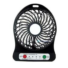 Black Handy Rechargeable USB Desk Mini Fan Handheld Travel Blower Air Cooler TH