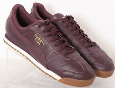 Puma 353572 64 Roma Leather Burgundy Lace-Up Fashion Sneakers Men's US 9.5