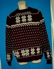 Vintage clothes mens Acrylic SKI SNOWFLAKE knit WINTER Sweater ugly CHRISTMAS