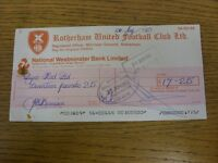 13/05/1983 Rotherham United: Official Club Cheque - payable to Dyno-Rod Ltd. Foo