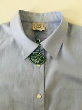 LAURA ASHLEY VINTAGE 80s SEMI FITTED COLLARED COTTON BLOUSE BLUE UK14 BNWT