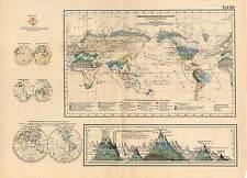Weltkarte-Berge-Verbreitung der Pflanzen - Lithographie 1869 Altkoloriert