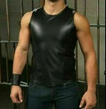 Men's Black Genuine Leather Sleeveless top Vest Fetish