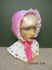 ADULT SISSY BABY BONNET PINK SATIN WITH LACE