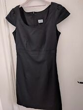 BNWT Oasis Cap Sleeve Black Matt Satin Finish Dress - Size 8