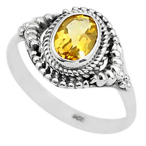 September Sale 1.94cts Solitaire Natural Citrine Oval Shape Ring Size 9 T3964