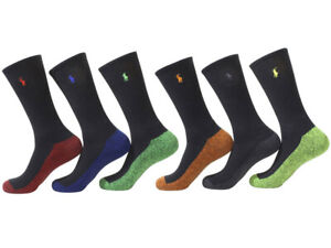 Polo Ralph Lauren Men's Classic Sport Crew Socks Black/Red 6-Pairs Fits 6-12.5