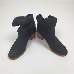 Womens Ugg Elora Black Block Heeled Ankle Strap Boots Size UK 3.5 EU 36 BNIB