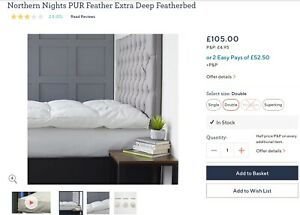 RRP£105 Double Northern Nights PUR Feather Extra Deep Featherbed bed topper