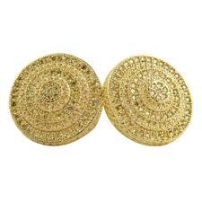 Canary Cz Bling Bling Earrings IcedOut Xxl Bullseye Look Hip Hop Gold