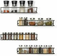 Set of 4 Spice Racks Wall Mounted for Kitchen Cabinet Brown Rack Kitchen Storage