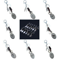 EG_ FAUX LEATHER ALLOY FEATHER ASTROLOGY CONSTELLATION KEYCHAIN KEY RING GIFT SP