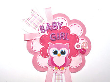 Baby gifts, New Baby Badge, Baby Shower large Owl Rosette Personalised Keepsake