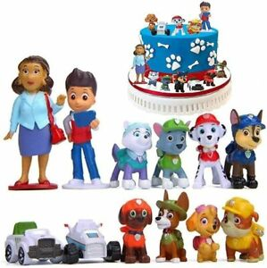 12pcs of Cake Topper Paw Patrol for Birthday Party Mini Figure Toys Decoration