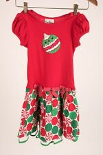 Rare Editions Kids Girl Dress 6X Holiday Christmas Ornament Applique Red Green
