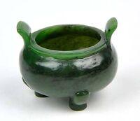 Hand Carved Natural Green Nephrite Jade Chinese Censer Buddhist Incense Burner