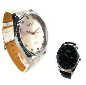 Uhr Damenuhr Chrom Strassziffern Quartsuhr schwarzes weisses Ziffernblatt  DU2