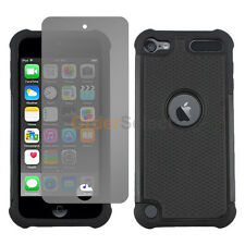 NEW Hybrid Rubber Case+LCD HD Screen Protector for Apple iPod Touch 6 6th Black