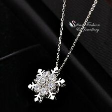 18K White Gold Filled Simulated Diamond Exquisite Sparkling Snowflake Necklace
