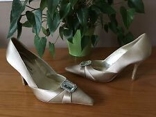 Ladies Dune taupe satin & leather court shoes with gem stone fronts UK 4 EU 37