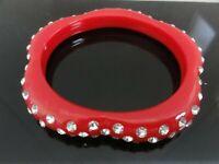 Vintage Art Deco Scalloped Daisy Pretty Red Lucite Rhinestone Bracelet Bangle