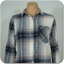 FOREVER 21 Juniors Plaid Button Front Shirt, Long Sleeves, Front Pocket size S